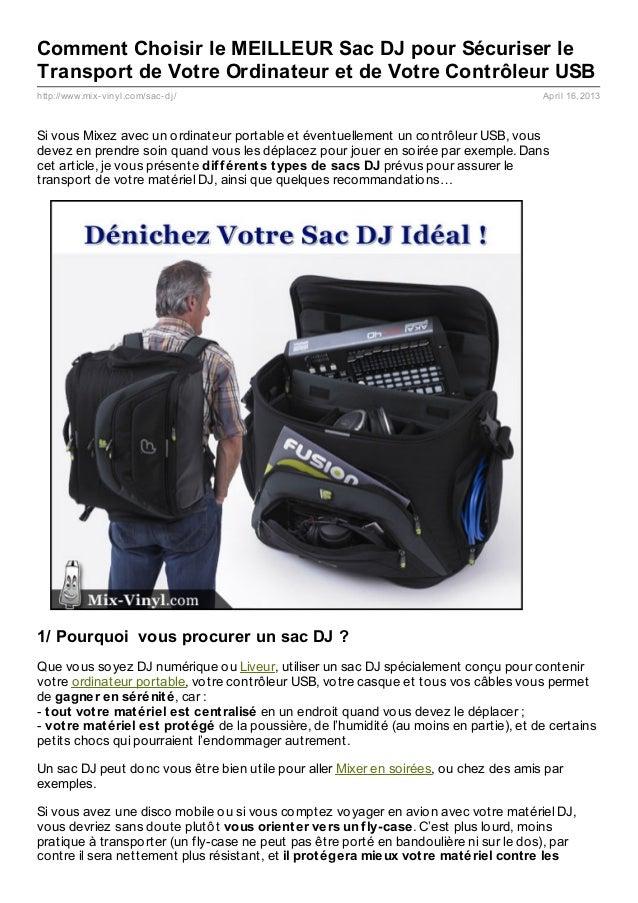 Comment Choisir le MEILLEUR Sac DJ pour Sécuriser leTransport de Votre Ordinateur et de Votre Contrôleur USBhttp://www.mix...