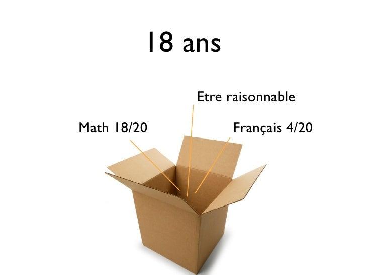 18 ans             Etre raisonnableMath 18/20        Français 4/20