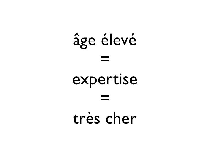 âge élevé    =expertise    =très cher