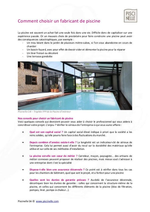 Comment choisir un fabricant de piscine for Fabricant de piscine