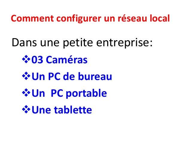 Comment configurer un réseau local Dans une petite entreprise: 03 Caméras Un PC de bureau Un PC portable Une tablette