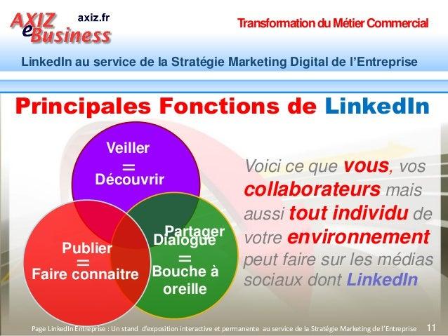 TransformationduMétierCommercial LinkedIn au service de la Stratégie Marketing Digital de l'Entreprise 11 Principales Fonc...