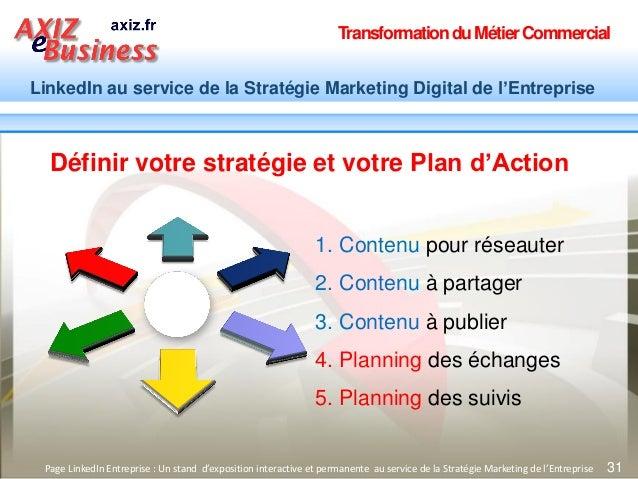 TransformationduMétierCommercial LinkedIn au service de la Stratégie Marketing Digital de l'Entreprise 31 1. Contenu pour ...