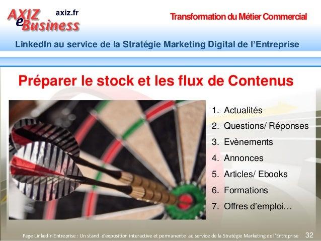 TransformationduMétierCommercial LinkedIn au service de la Stratégie Marketing Digital de l'Entreprise 32Page LinkedIn Ent...