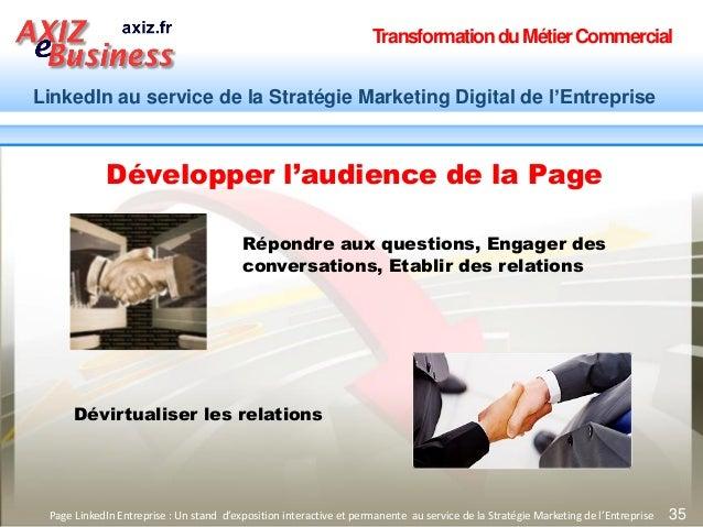 TransformationduMétierCommercial LinkedIn au service de la Stratégie Marketing Digital de l'Entreprise 35Page LinkedIn Ent...