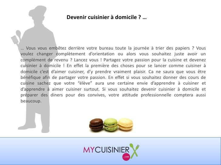 Comment devenir cuisinier domicile for Devenir cuisinier