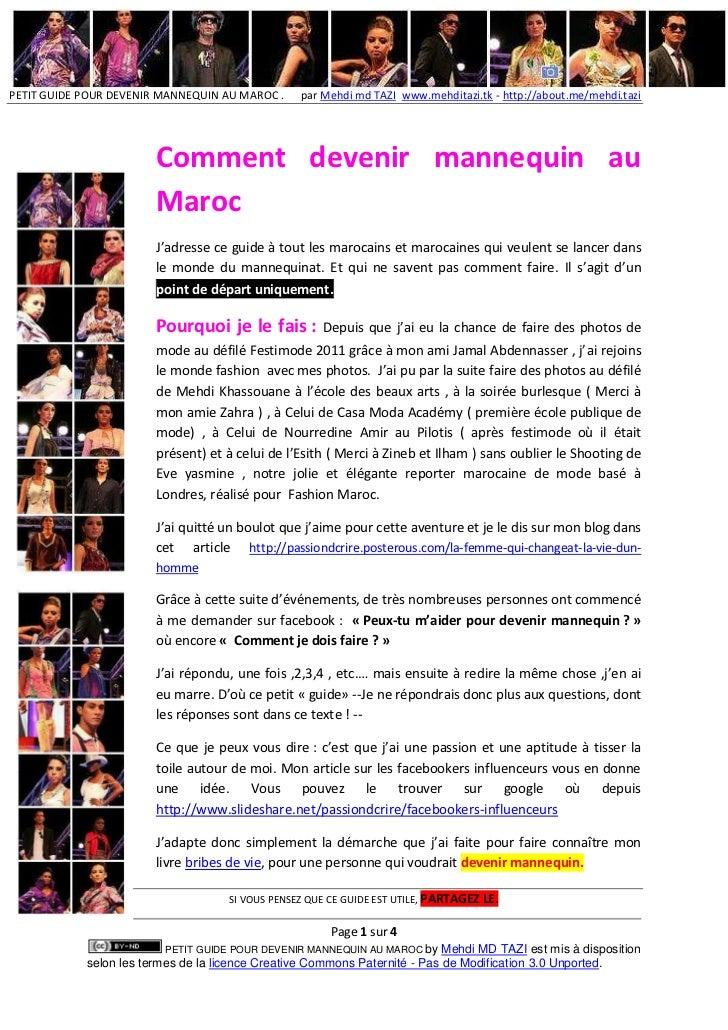PETIT GUIDE POUR DEVENIR MANNEQUIN AU MAROC .     par Mehdi md TAZI www.mehditazi.tk - http://about.me/mehdi.tazi         ...