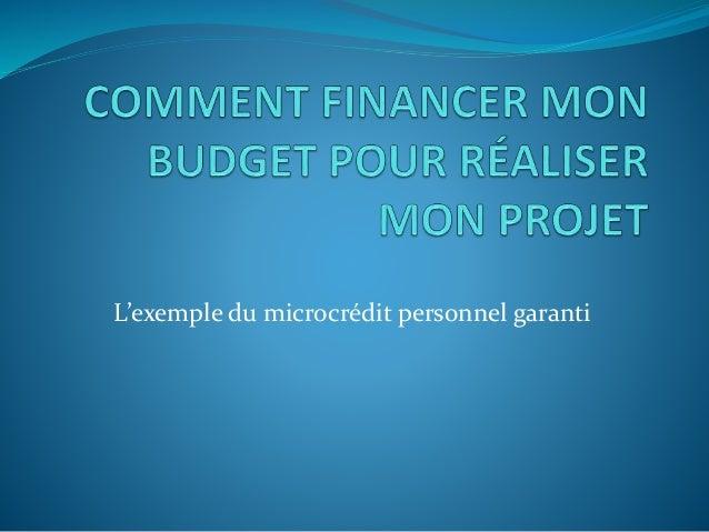 L'exemple du microcrédit personnel garanti