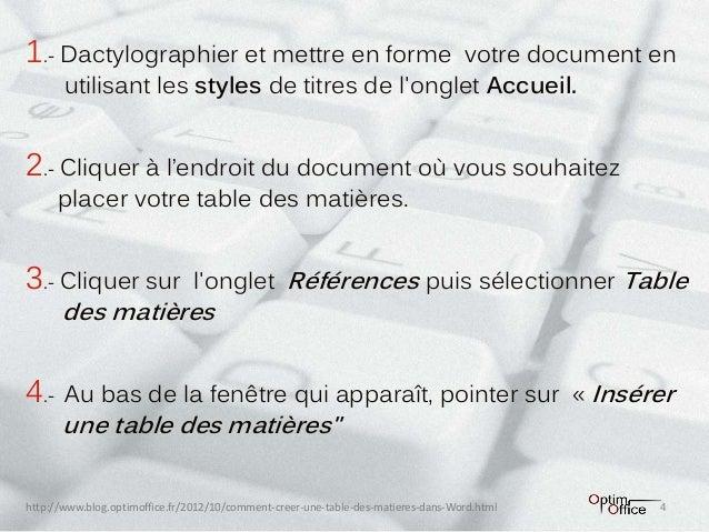 Comment Générer Une Table Des Matières Dans Un Document Word