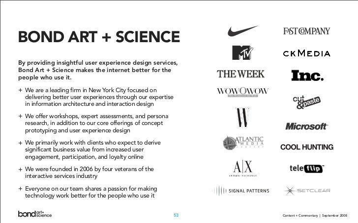 BOND ART + SCIENCE By providing insightful user experience design services, Bond Art + Science makes the internet better f...