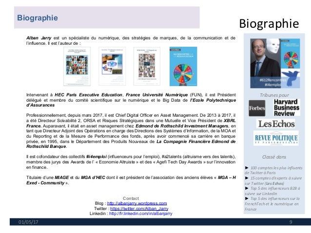 Biographie 01/05/17 9 Tribunes pour Classé dans ► 100 comptes les plus influents de Twitter à Paris ► 15 comptes d'experts...
