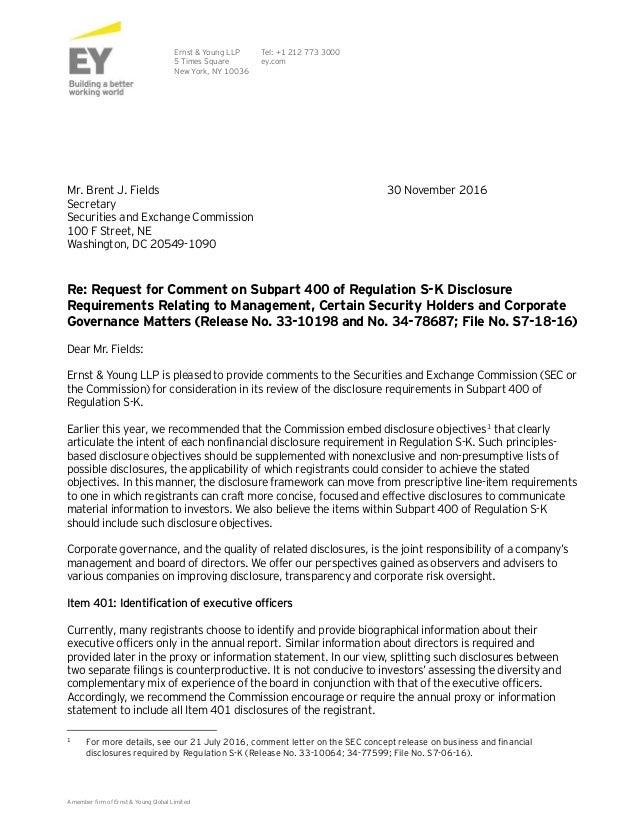 Ey Comment Letter Regulation S K Subpart 400 Governance