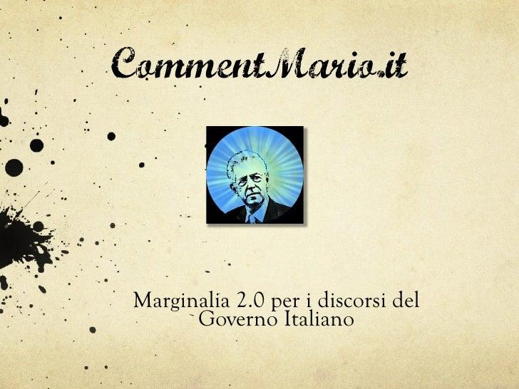 CommentMario.it Marginalia 2.0 per i discorsi del       Governo Italiano