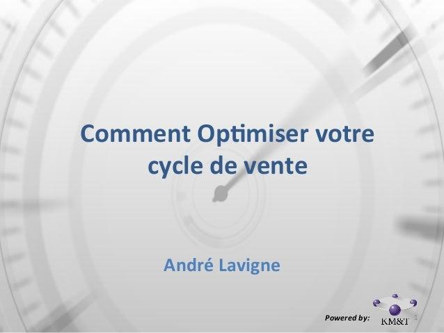 Comment  Op*miser  votre   cycle  de  vente André  Lavigne     Powered  by:     1