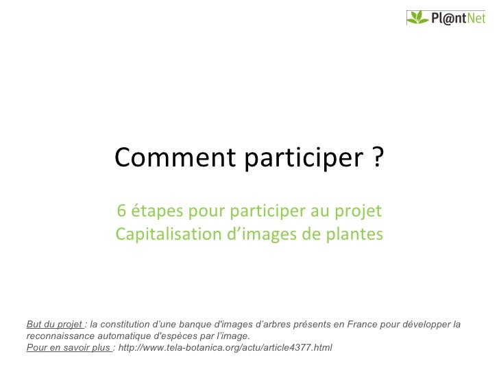 Comment participer ?                    6 étapes pour participer au projet                    Capitalisation d'images de p...