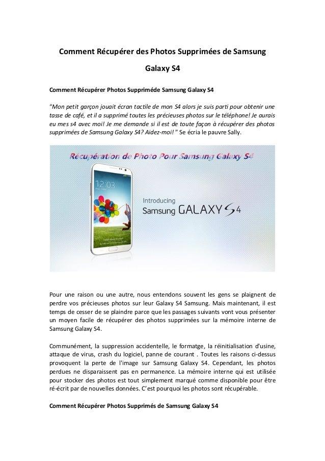 """Comment Récupérer des Photos Supprimées de Samsung Galaxy S4 Comment Récupérer Photos Suppriméde Samsung Galaxy S4 """"Mon pe..."""