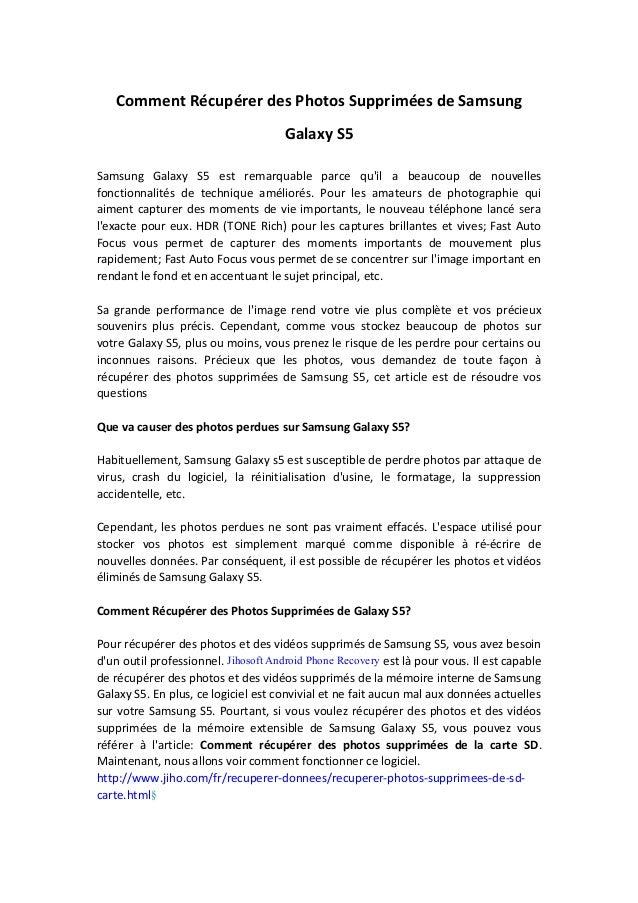 Comment Récupérer des Photos Supprimées de Samsung Galaxy S5 Samsung Galaxy S5 est remarquable parce qu'il a beaucoup de n...