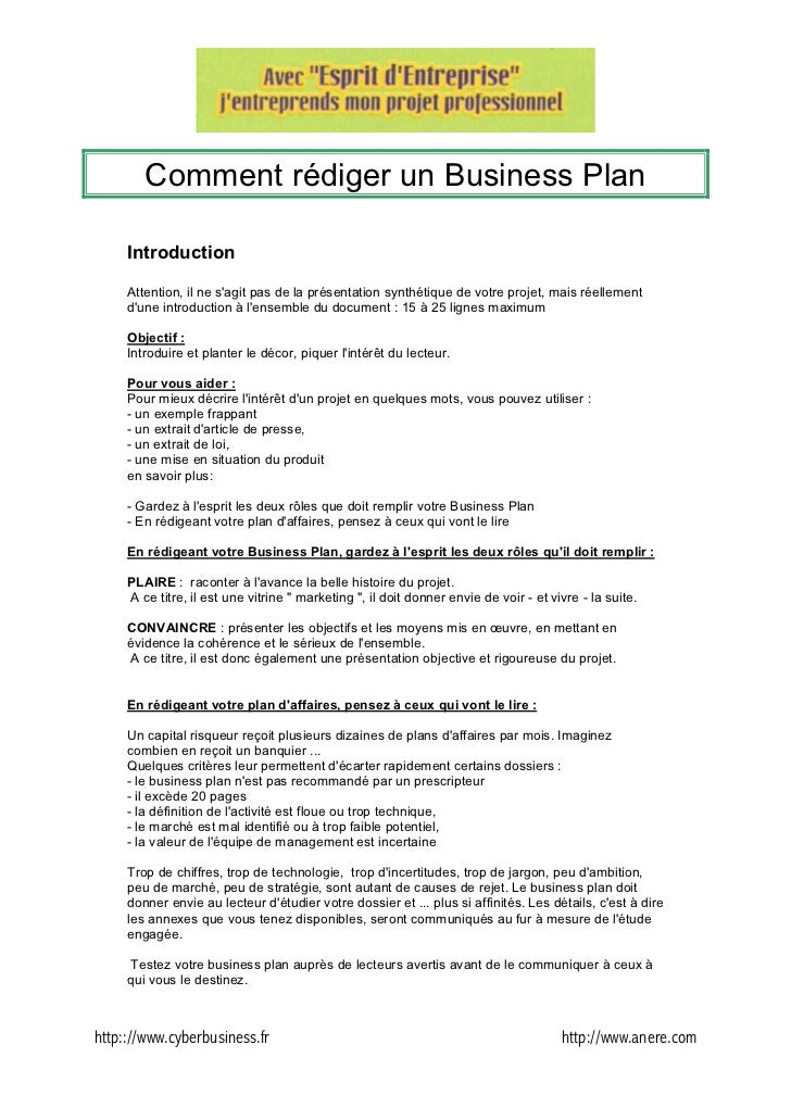 comment rediger un business plan