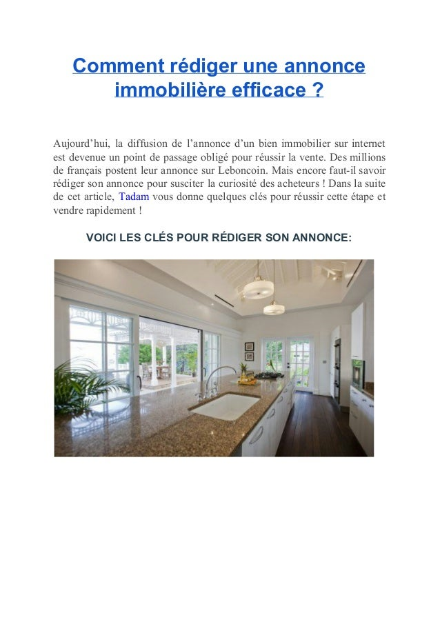 Comment r diger une annonce immobili re efficace for Annonce immobiliere appartement