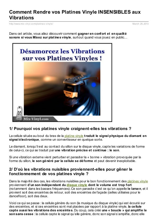 Comment Rendre vos Platines Vinyle INSENSIBLES auxVibrationshttp://www.mix- vinyl.com/platines- vinyle/                   ...