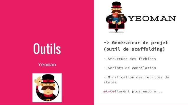 Outils Yeoman -> Générateur de projet (outil de scaffolding) - Structure des fichiers - Scripts de compilation - Minificat...