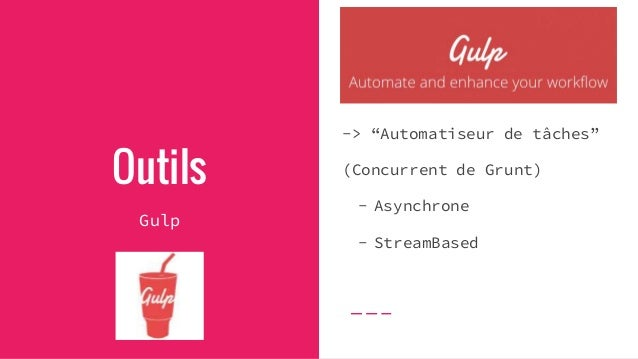 Outils Gulp - serve Besoin de compiler vos fichiers et les servir en local ? => `gulp serve` Par défaut, BrowserSync activ...