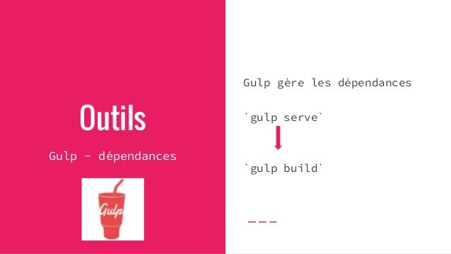 Exemple gulp.task('html', function (done) { // Compiler vos templates }); gulp.task('styles', function (done) { // Compile...