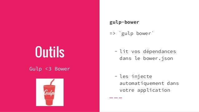 Outils Gulp Des centaines de plugins Gulp sont déjà disponibles D'autres exemples ? - `gulp deploy` - `gulp test` - `gulp ...