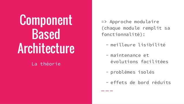 """Component Based Architecture La théorie appliquée au Web => """"Extend the Web"""" Simple standard HTML tags: -> <button>, <tabl..."""