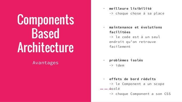 Components Based Architecture Inconvénients - plus de réflexion -> Est-ce que je fais un Component pour cette fonctionnali...