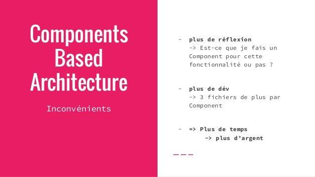 Components Based Architecture Conclusion Le code est bien plus - lisible - maintenable - évolutif À utiliser sur des proje...