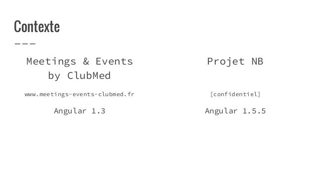 Contexte Meetings & Events by ClubMed www.meetings-events-clubmed.fr Angular 1.3 Projet NB [confidentiel] Angular 1.5.5