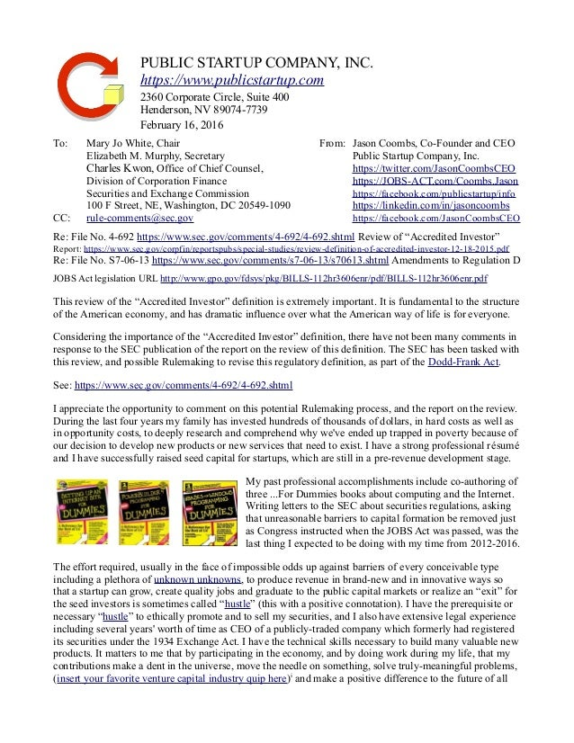 PUBLIC STARTUP COMPANY, INC. https://www.publicstartup.com 2360 Corporate Circle, Suite 400 Henderson, NV 89074-7739 Febru...