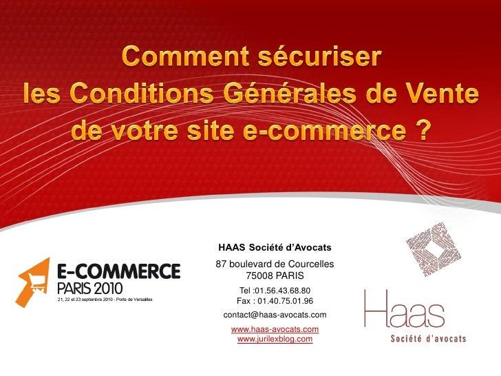 HAAS Société d'Avocats 87 boulevard de Courcelles       75008 PARIS      Tel :01.56.43.68.80     Fax : 01.40.75.01.96  con...