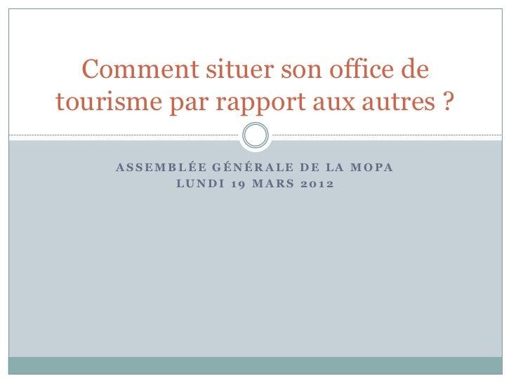 Comment situer son office detourisme par rapport aux autres ?    ASSEMBLÉE GÉNÉRALE DE LA MOPA          LUNDI 19 MARS 2012