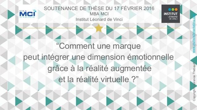 """""""Comment une marque peut intégrer une dimension émotionnelle grâce à la réalité augmentée et la réalité virtuelle ?"""" www.m..."""