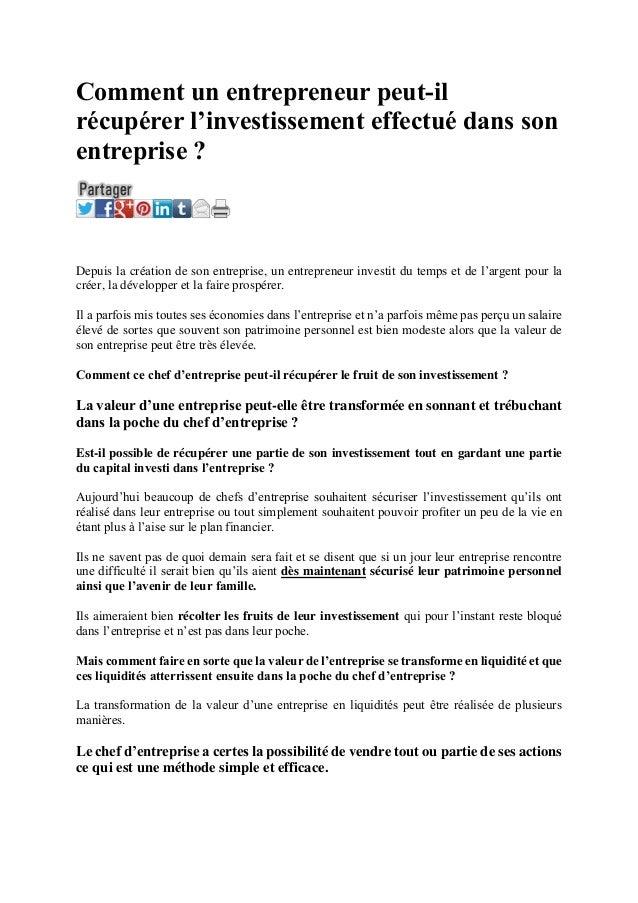 Comment un entrepreneur peut-il récupérer l'investissement effectué dans son entreprise ? Comment un entrepreneur peut-il ...