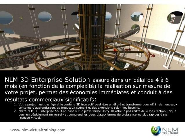 NLM 3D Enterprise Solution assure dans un délai de 4 à 6mois (en fonction de la complexité) la réalisation sur mesure devo...