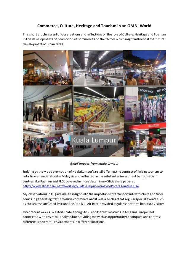 Commerce, Culture, Heritage and Tourism in an OMNI World Thisshort article isa setof observationsandreflectionsonthe role ...