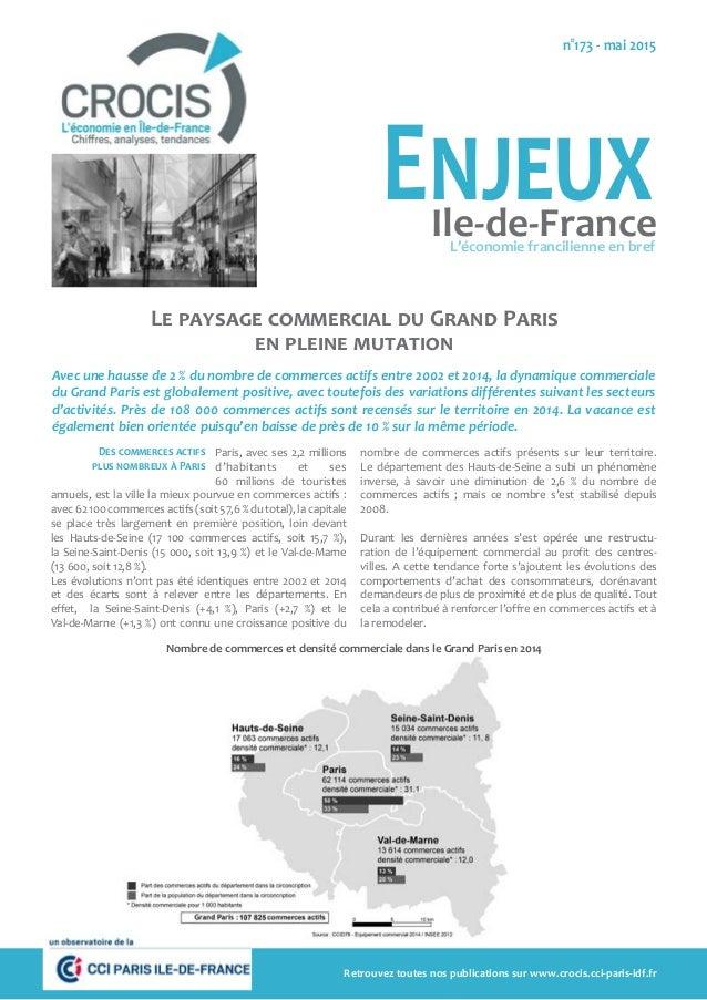 Le paysage commercial du Grand Paris en pleine mutation Avec une hausse de 2 % du nombre de commerces actifs entre 2002 et...