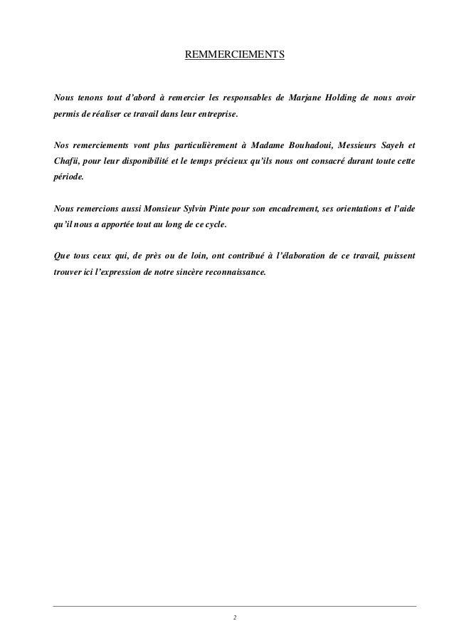 remerciement contrat de travail Commerce international analyse du processus import chez marjane remerciement contrat de travail
