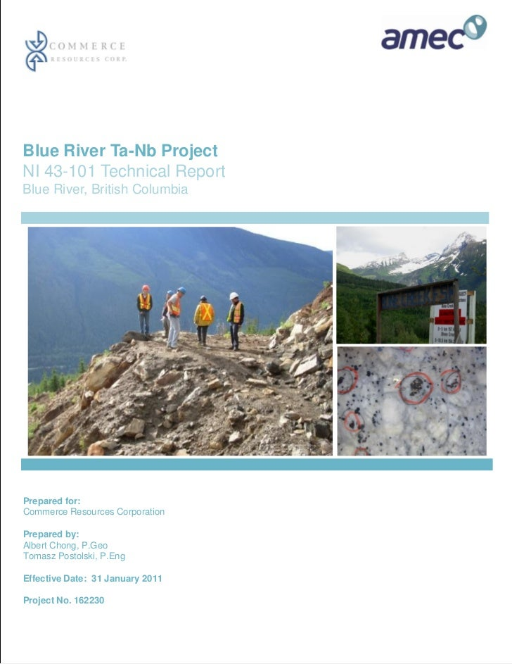 Blue River Ta-Nb ProjectNI 43-101 Technical ReportBlue River, British ColumbiaPrepared for:Commerce Resources CorporationP...