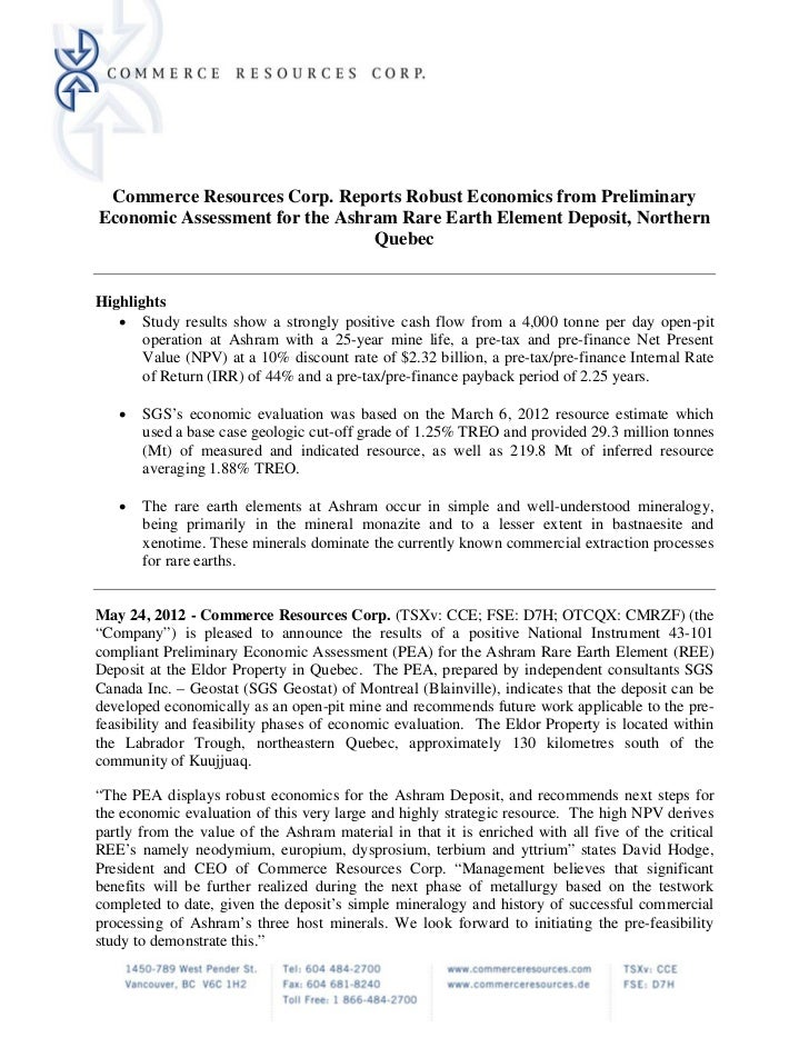 Commerce Resources Corp. Reports Robust Economics from Preliminary    Economic Assessment for the Ashram Rare Earth Elemen...