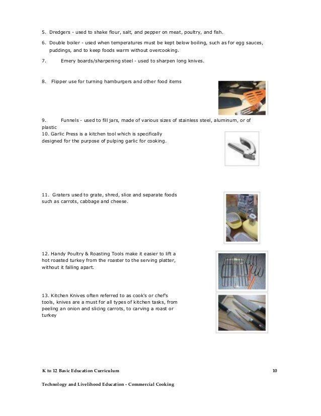 Commercial cooking learning module for Kitchen equipment definition