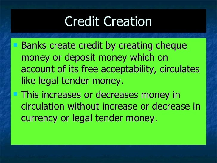Credit Creation By Commercial Banks