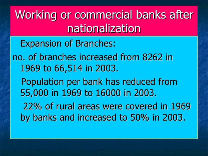effects of nationalization of commercial banks in india