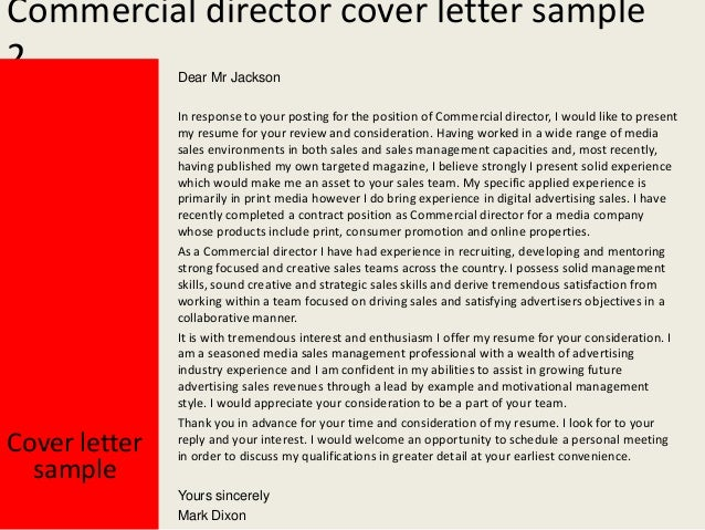 commercial director cover letter