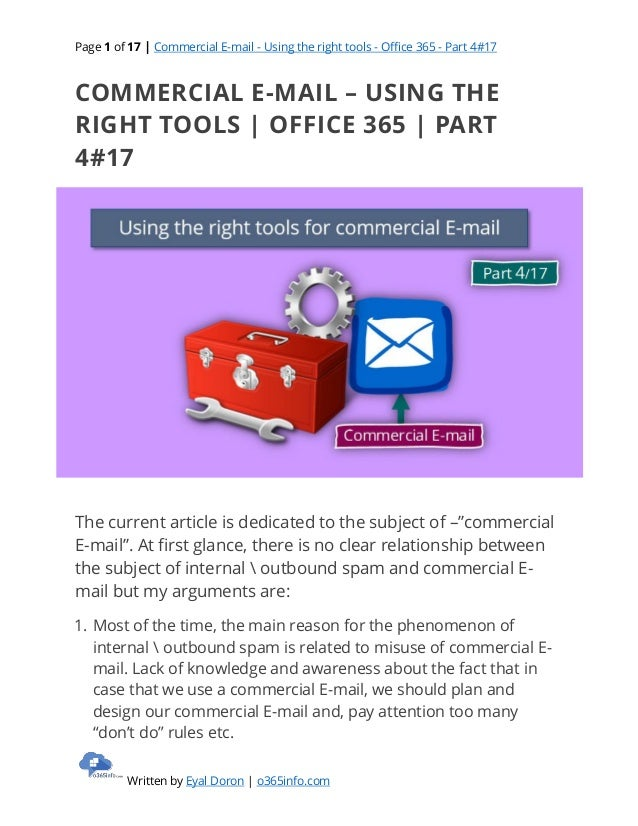 Commercial E-mail - Using the right tools   Office 365