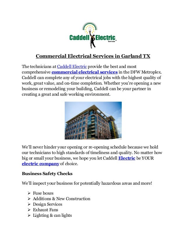 commercial electrical services in garland txcommercial electrical services in garland tx the technicians at caddell electric provide the best and most