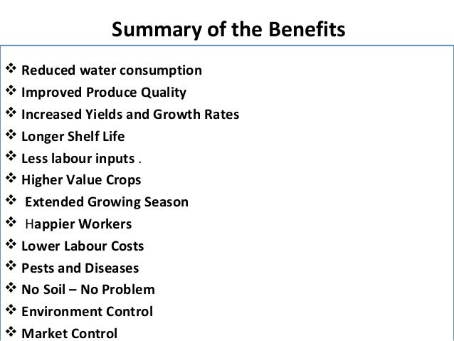An overview of the advantages of producing crops through use of hydroponics